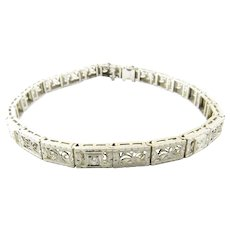 Vintage 14 Karat White Gold Filigree and Diamond Bracelet