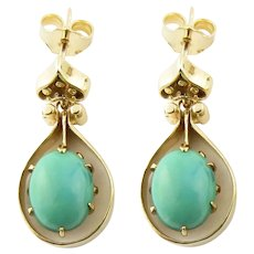 Vintage 14 Karat Yellow Gold Turquoise Earrings