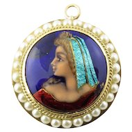 Vintage 14 Karat Yellow Gold and Seed Pearl Painted Cameo Pendant/Brooch