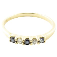 Vintage 14 Karat Yellow Gold Sapphire and Diamond Ring Size 6.5