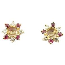 Vintage 14 Karat Yellow Gold Ruby and Diamond Earring Jacket