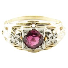 Vintage 14 Karat Yellow Gold Ruby Ring Size 3.5