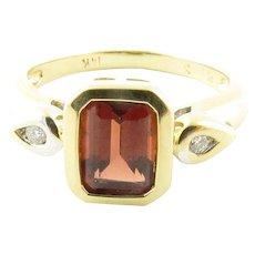 Vintage 14 Karat Yellow Gold Garnet and Diamond Ring Size 4.5