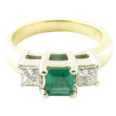 Vintage 18 Karat Yellow Gold Emerald and Diamond Ring Size 5.5