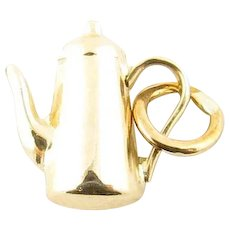 Vintage 14 Karat Yellow Gold Coffee Charm