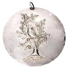 Vintage Towle Sterling Silver Partridge In A Pear Tree/Dove Peace Ornament 1971