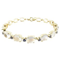 Vintage 14 Karat Yellow Gold Moonstone and Sapphire Bracelet