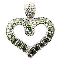 Vintage 14 Karat White Gold and Green and White Diamond Heart Pendant