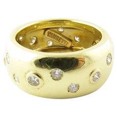 Vintage 18 Karat Yellow Gold and Diamond Band Size 6.5