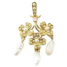 Vintage 14 Karat Yellow Gold Diamond and Pearl Pendant
