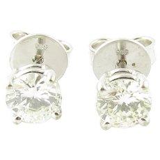 Vintage 14 Karat White Gold Diamond Stud Earrings .74 ct twt.