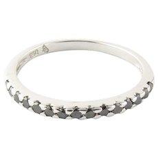 Vintage 18 Karat White Gold Black Diamond Ring Size 6.25