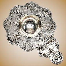 Antique Cherub Sterling Silver Tea Strainer