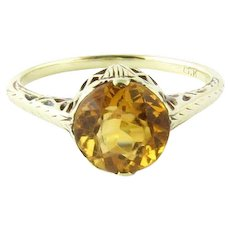 Vintage 14 Karat White Gold Citrine Ring Size 5.75