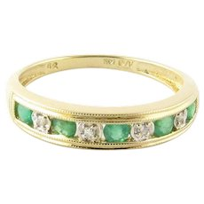 Vintage 14 Karat Yellow Gold Emerald and Diamond Ring Size 7