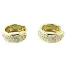 Vintage 18 Karat Yellow Gold and Diamond Huggie Earrings