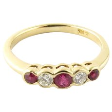 Vintage 14 Karat Yellow Gold Ruby and Diamond Ring Size 5.25