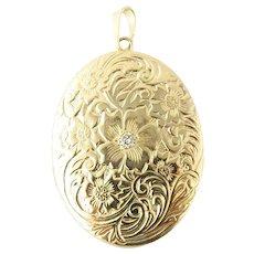 Vintage 14 Karat Yellow Gold Locket Pendant with Diamond