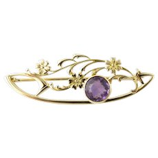Vintage 10 Karat Yellow Gold and Amethyst Brooch/Pin