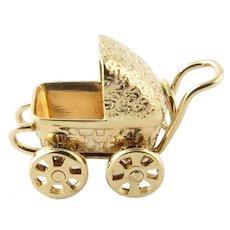 Vintage 14 Karat Yellow Gold Baby Carriage/Pram Charm