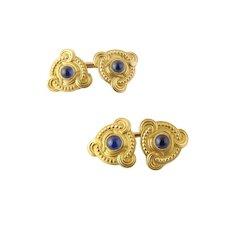 Vintage 14 Karat Yellow Gold and Cabochon Sapphire Cufflinks