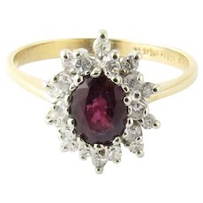 Vintage 14 Karat Yellow Gold Garnet and Diamond Ring Size 6.75