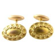 Vintage 14 Karat Yellow Gold Oval Cufflinks