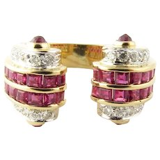 Vintage 18 Karat Yellow Gold Ruby and Diamond Ring Size 5.5