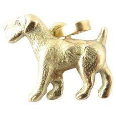 Vintage 14 Karat Yellow Gold Airedale Dog Pendant Charm