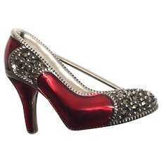 Judith Jack Sterl Silv Marcasite and Bright Red Enamel High Heel Shoe Pin