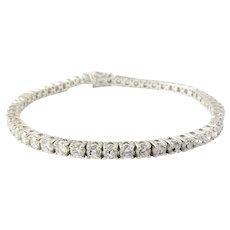Vintage 14 Karat White Gold Diamond Tennis Bracelet 5.5 TCW