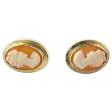 Vintage 14K Yellow Gold Cameo Florentine Earrings for Pierced Ears