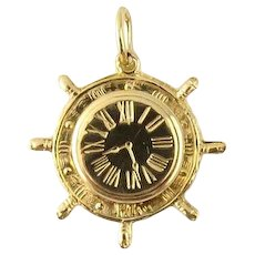 Vintage 14 Karat Yellow Gold Ship's Wheel Clock Charm