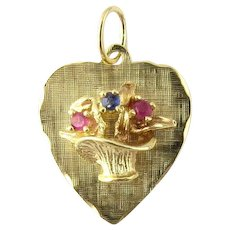 Vintage 14 Karat Yellow Gold Heart and Flower Basket Charm