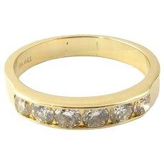 Vintage 14 Karat Yellow Gold and Diamond Wedding Band Size 8