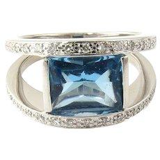 Vintage 14 Karat White Gold Swiss Blue Topaz and Diamond Ring Size 7