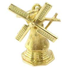 Vintage 14 Karat Yellow Gold Mechanical Windmill Charm