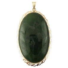 Vintage 18 Karat Yellow Gold Etched Jade Pendant