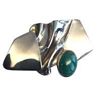 AVI Soffer Sterling Silver Modernist Gemstone Brooch Israel