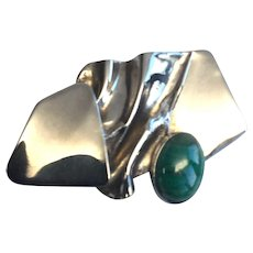 AVI Soffer Sterling Silver Modernist Gemstone Brooch Israel