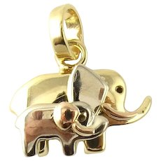 Vintage 14 Karat Yellow Gold Elephant Mother and Baby Charm