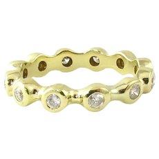 Vintage 14 Karat Yellow Gold Diamond Eternity Band Size 6.75