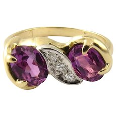 Vintage 14 Karat White Gold Simulated Amethyst and Diamond Ring Size 6.75