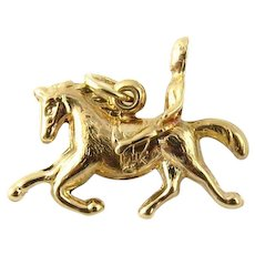 Vintage 14 Karat Yellow Gold Horse and Rider Charm