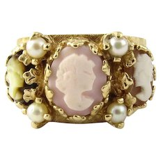 Vintage 14 Karat Yellow Gold Cameo and Pearl Ring Size 7