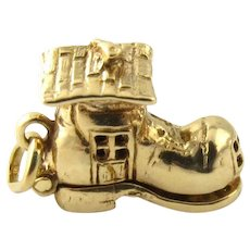 Vintage 14 Karat Yellow Gold Old Woman in a Shoe Charm