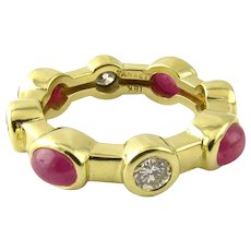Vintage 18 Karat Yellow Gold Tambetti Cabochon Ruby and Diamond Ring Size 6.75