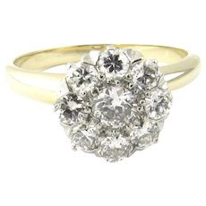 Vintage 14 Karat Yellow and White Gold Diamond Cluster Ring Size 5