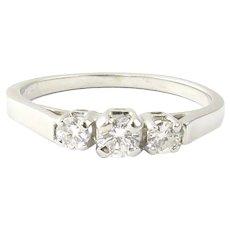 Vintage 14 Karat White Gold Three Stone Diamond Ring Size 8.5