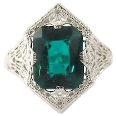 Vintage 10 Karat White Gold Filigree and Simulated Emerald Ring Size 9
